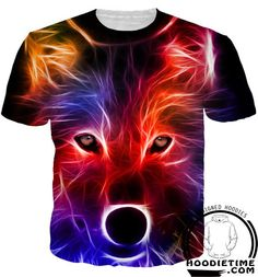 Red and Blue Wolf Shirt - Printed T-Shirts Clothing