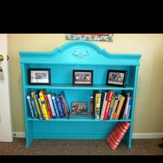 Found this old hutch top at Goodwill, painted it, and used it as a bookcase!