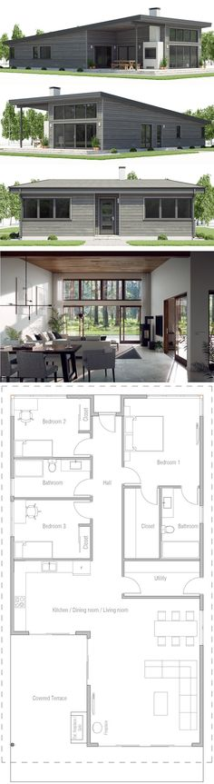 Architecture House Plan, Home Plans, Narrow House Plans One Level House Plans, Narrow House Plans, Best House Plans, Small House Plans, House Floor Plans, Architecture Design, Balkon Design, House Blueprints, Sims House