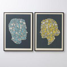 Flowering Confetti His Silhouette Print