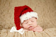 Newborn Christmas Photo Prop  Girl Santa Hat  Baby by bitOwhimsy, $40.00