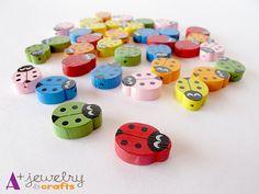 Ladybugs wooden beads wood beads beading by APlusJewelryCrafts, $7.00