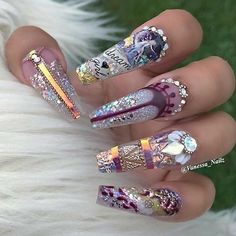 Pretty bling nail art on coffin shaped nails Bling Nail Art, Glam Nails, Dope Nails, Glitter Nail Art, Bling Nails, Fabulous Nails, Perfect Nails, Gorgeous Nails, Ghetto Fabulous