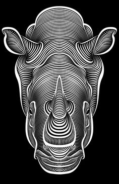Line work (and line spacing) which define and amplify the shape and form of the rhinoceros