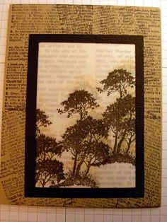 Vellum Trees by stamphappy1650 at Splitcoaststampers. Stamp trees in black, creamy brown, & going grey on vellum. Attach DSP behind vellum. Mount on card base that was stamped with text.