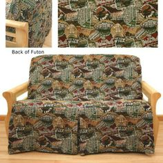 Travel Skirted Futon Slipcover Chair 621 by SlipcoverShop. $65.00. Extremely easy to apply or remove. In Stock - Ships within 2 days. See Sizing and Product Description below. Made to fit futon chairs cushions measuring 28 inches wide. Patented construction by Easy Fit®. is extremely easy to apply or remove. Completely conceals the front and the back of the futon frame. Front skirt can be folded for exposed front appearance. Travel fabric is delightful novelty pattern i...