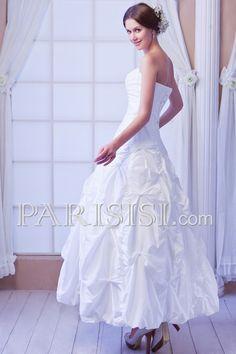 vestidos de novia Basque Sin Mangas Hasta Suelo Corte A Sin tirantes Tafetán Marfil Clásico