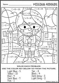 COLOR BY NUMBER MISSING ADDENDS |Super Hero Themed | Math Worksheets English Games, English Activities, Activity Pages For Kids Free Printables, Super Hero Day, First Day Of School Activities, School Routines, School Worksheets, Third Grade Math, Teacher Tools