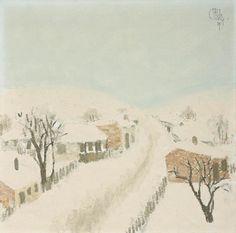 Constantin Piliuță - Peisaj de iarnă Post Impressionism, Art Database, Contemporary, Painters, Outdoor, Outdoors, Winter Scenery, Outdoor Games