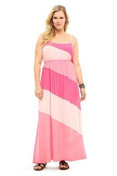 Buy New: $58.50 : Apparel: Torrid Plus Size Pink Color Block Maxi Dress #Pink   Not a pink fan