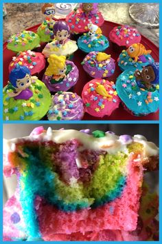 Rainbow Bubble Guppies cupcakes!