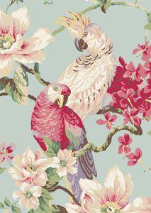 Gorgeous aqua and pink vintage look wallpaper parrots cockatoo