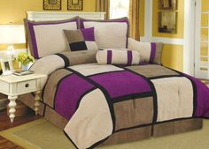 Black tan and purple bedroom | Pieces Brown, Purple & Black Suede Patchwork Comforter Bedding Set ...