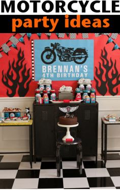 Harley Davidson Party.  Celebrate someone special with these rocking motorcycle party ideas.  Super cute table display.