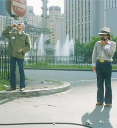 Robert De Niro and Martin Scorsese on the set of Taxi Driver | 1976