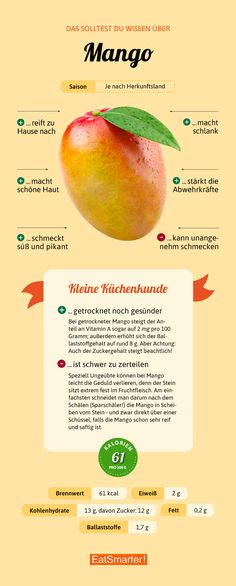 Das solltest du über Mango wissen   eatsmarter.de #mango #infografik #ernährung