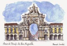 Fernanda Lamelas #Aguarelas #ART #Lisboa Portugal, Beyond Beauty, Collages, Urban Sketchers, Cubism, Illustration Art, Illustrations, Urban Art, Notre Dame