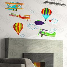 Aeroplane And Hot Balloon Wall Decals Stickers Appliques Home