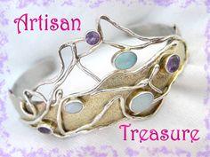 Modernist Opal & Amethyst ~ 10K Gold Sterling Silver Custom Cuff Bracelet OOAK Jewelry - FREE SHIPPING In USA @@