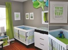 Grey wall Nursery with Lime and Turquoise