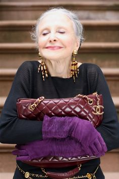 """""""If I had a Chanel bag, I would never let go."""" Like the idea of the quote and also fashiony quite often you don't see all the bag Purple Gloves, Gray Hair, White Hair, Maturity, Ageing, Haley Byrd, Lucky Magazine, Advanced Style, Advanced Beauty"""