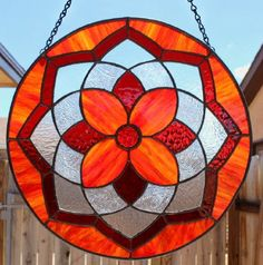 STAINED GLASS SUNCATCHER Shades of Red by SunflowerGlassworks