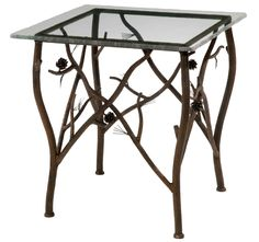 A beautiful Pine Iron side table made of hand forged iron with the iron bars being scored to resemble natural pine bark and accented with realistic looking pine cones and your choice of top.  Can be used indoors or on the patio or in the garden.  American Made to order by skilled blacksmiths.