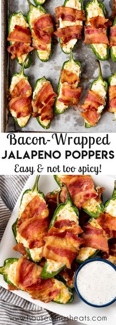Make these Bacon-Wrapped Jalapeno Poppers as an appetizer for your next party night or game day! Every bite is loaded with creamy, spicy, cheesy, smoky flavor that is totally irresistible! #bacon #jalapenopoppers #appetizer #gameday #party #easy #creamcheese #jalapenos #withbacon #homemade