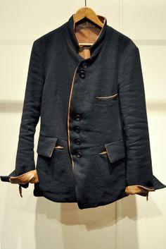 Black Linen Jacket with Tan Leather Trim, by TAKAHIRO MIYASHITA The Soloist 2012. Men's Spring Summer Fashion.