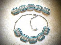HOLD....Monet Rhinestone Necklace and Bracelet set-Vintage
