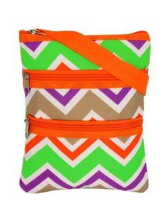 Click photo to order!  Orange and Lime Chevron Crossbody Bag  FREE SHIPPING!