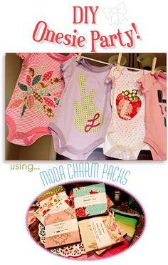 DIY Applique Onesie Templates for a Girl Baby Shower  (PDF download). $16.00, via Etsy.
