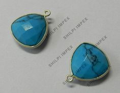 5 Pcs Lots Synthetic Turquoise gemstone 925 silver nice charms connector jewelry