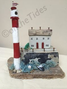Driftwood lighthouse driftwood house sculpture with от OntheTide