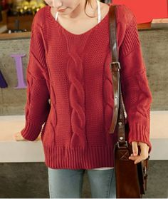 Retro Style V-Neck Cable-Knit Long Sleeve Sweater For Women