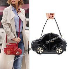 Designer 3D Car shape chain bag Women Evening Party Clutch Purse with handle Black Red