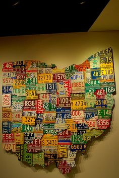 """Saw this Ohio map of license plates on """"How the States Got Their Shapes"""" on History Channel!"""