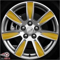 This image features the Bright Yellow print. Rim Prints guarantees to instantly improve the look of your Buick LaCrosse by transforming your rims! It is amazing how easy it is and with a splash of yellow the results are powerful! Go now to www.rimprints.com to choose your color and secure your print today! $149 for all 4 wheels www.rimprints.com