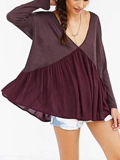 Red Deep V-Neck Backless Blouse from Augustine's. Saved to Nov. 1, 2015. #dresses #womans #vneck #backless #blouse.