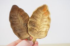 Vintage Brass Leaf Trays (Set of 2) - Ash Tray, Jewelry Display, Fall Decor. $9.00, via Etsy.