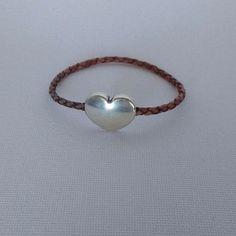 Leather Bracelet with Zamak Heart Magnetic Clasp Women/Girl's #La3DesignsHandmade #BraidedLeather