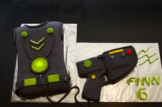 Laser Tag Cake - Laser tag vest with RKT laser gun.  Disc on the vest lights up. Thanks to kfinaleed for ideas and inspiration.  Hers was amazing!