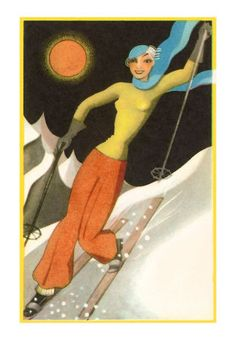An poster sized print, approx (other products available) - Poster illustration of a skier in Art Deco style. Artist: Gerda Rylander Date: circa 1920 - Image supplied by Mary Evans Prints Online - Poster printed in the USA Vintage Ski Posters, Art Deco Posters, Vintage Postcards, Vintage Cards, Vintage Images, Ski Decor, Winter Fun, Winter Sports, Illustrations