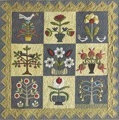 Primitive Folk Art Wool Applique/Quilt Pattern: PICK YOUR FLOWERS - Wall Quilt
