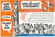 Tiki Room Brochure 1963 :: you have to see it to believe it . Tiki Hawaii, Vintage Cocktails, Walt Disney Imagineering, Disney Enchanted, Tiki Party, Vintage Disneyland, Tiki Room, Never Grow Up, Disney Love