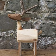 hand made wooden stag