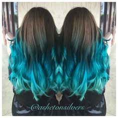 Pravana , teal , turquoise ombre , color melt by Asheton silvers