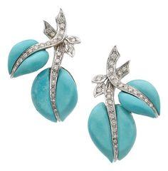 Turquoise, Diamond, White Gold Earrings.