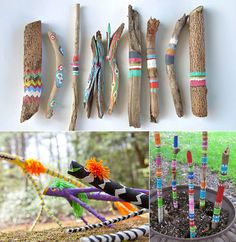 Craft Ideas-with-wood-for-children-in-Sommer_basteln- - Geburtstagsspiele - Kids Crafts, Arts And Crafts For Teens, Arts And Crafts House, Summer Crafts, Diy For Kids, Wood Crafts, Easy Crafts, Diy And Crafts, Canvas Crafts
