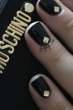 #black #gold #studs Moschino